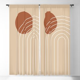 Geometric Lines in Terracotta and Beige 61 (Rainbow and Sun Abstract) Blackout Curtain