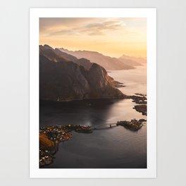 Sunrise and Mountains, Lofoten Islands Norway.  Art Print