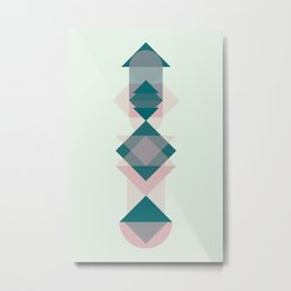 Nr. 1 Geometric Totem Pole Blush Pink and Green Metal Print
