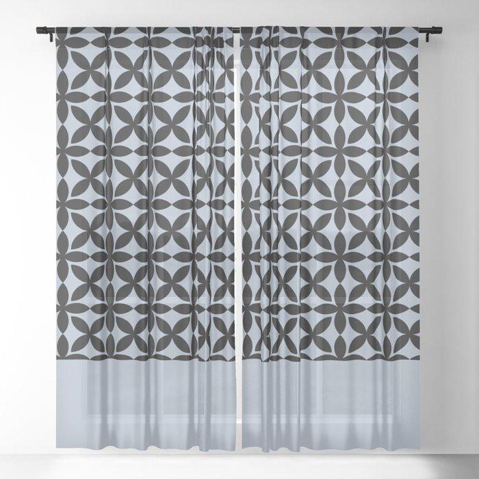 Black Square Petals Graphic Design Pattern  on PPG Paint Rendezvous Blue Sheer Curtain