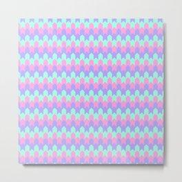 Blue Rose Lilac Chevron Geometry Pattern Metal Print