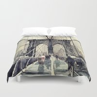 bridge Duvet Covers featuring Brooklyn Bridge by takmaj