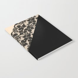 Elegant Peach Ivory Black Floral Lace Color Block Notebook