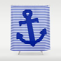 nautical Shower Curtains featuring Nautical by The Wellington Boot