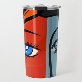 Red Blue Pop Girl Portrait Expressionist Art Travel Mug
