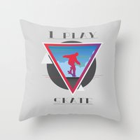 skate Throw Pillows featuring Skate by Stefano Messina