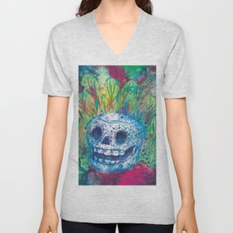 Mayan Skull Unisex V-Neck