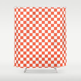 Jumbo Living Coral Color of the Year Orange and White Checkerboard Shower Curtain