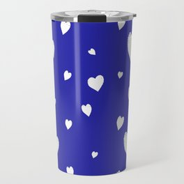 Hand-Drawn Hearts (White & Navy Blue Pattern) Travel Mug