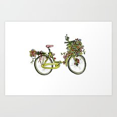 Flower-bike Art Print