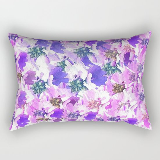 Lavender and Pink Floral Abstract Rectangular Pillow