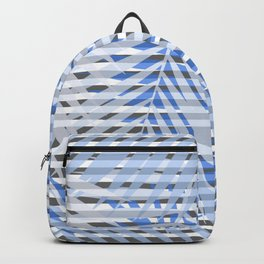 Blue striped palm leaves seamless pattern. Backpack