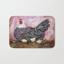 Blue Hen With Chicks Transparent Bath Mat