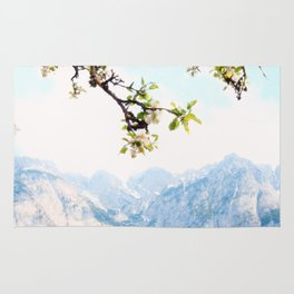 Pastel Apple Blossoms and Mountains Rug