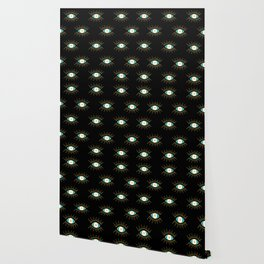 Teal Evil Eye on Black Small Pattern Wallpaper