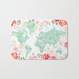 Mint green and hot pink watercolor world map with cities Bath Mat
