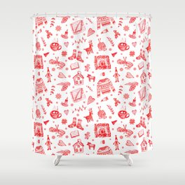 Cozy Hygge Elements In Red + White Shower Curtain