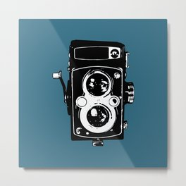 Big Vintage Camera Love - Black on Teal Background Metal Print