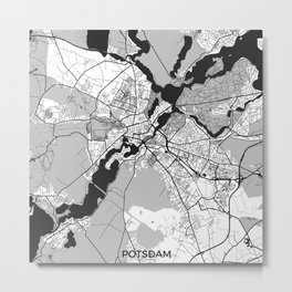 Potsdam Map Gray Metal Print