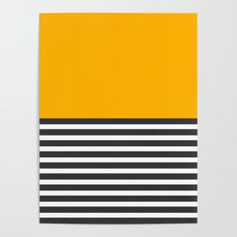 Half Striped Gray - Solid Yellow Poster