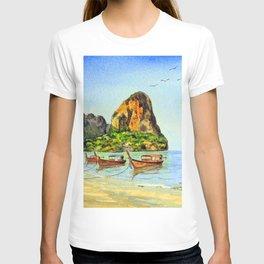 Long-tail Boats At Railay Beach Krabi Thailand T-shirt