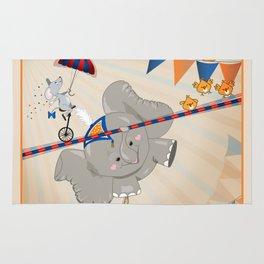 Elephant on tightrope Rug