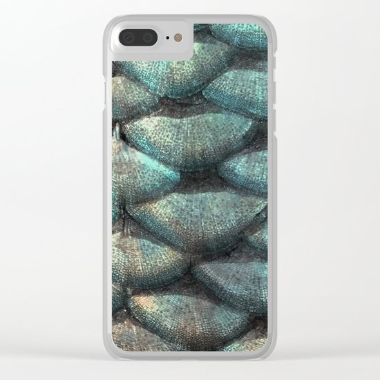 Aqua rose mermaid scales Clear iPhone Case