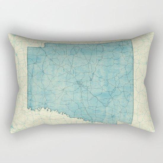 Arkansas State Map Blue Vintage Rectangular Pillow