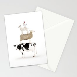 Four Stacked Farm Animals Stationery Cards