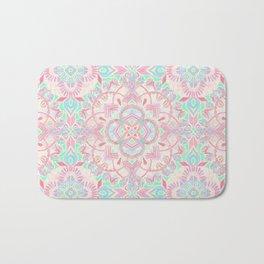 Mint and Blush Pink Painted Mandala Bath Mat