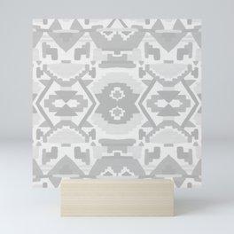 Geometric Aztec in Soft Grey Mini Art Print
