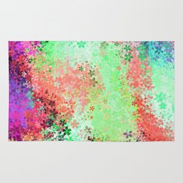 flower pattern abstract background in green pink purple blue Rug