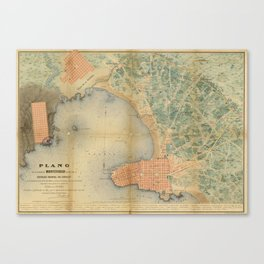 Vintage Map of Montevideo Uruguay (1867) Canvas Print
