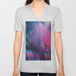 Bold Pink and Blue Glitches Unisex V-Neck
