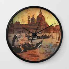 Watercolor painting of gondola boats on Piazza San Marco at sunset in the medieval city of Venice Wall Clock