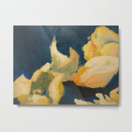 Floral blue and yellow detail Metal Print