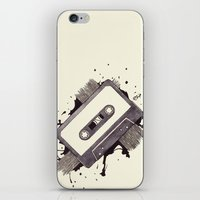 cassette iPhone & iPod Skins featuring Cassette by One Curious Chip