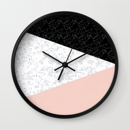 Patchwork pink and marble Wall Clock