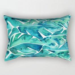 Split Leaf Philodendron – Teal Rectangular Pillow