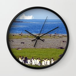 King Penguins on the beach with an Iceberg behind Wall Clock