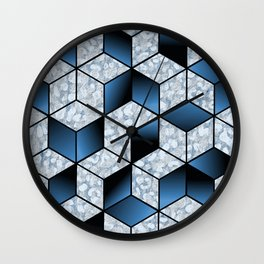 Abstract Blue Cubic Effect Design Wall Clock