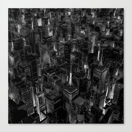 Night city glow B&W / 3D render of night time city lit from streets below in black and white Canvas Print