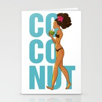 coconut wishes Stationery Cards featuring Coconut by KAA illustration