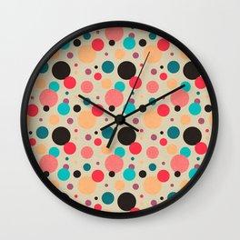 Multicolored Geometric Polka Dot Pattern Wall Clock