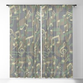Music Note Camo WOODLAND Sheer Curtain