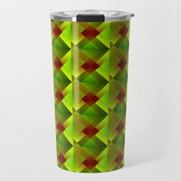 Volumetric pattern of convex squares with green mosaic diamond-shaped highlights and a checkerboard. Travel Mug