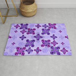 Deluxe Ornate Pattern Design in Blue and Fuchsia Colors Rug