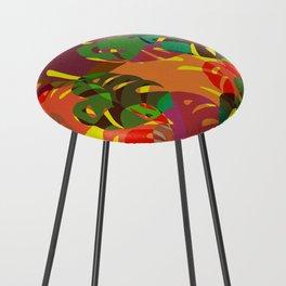 multicolored monstera Counter Stool