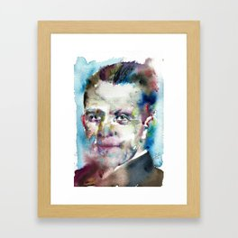 WERNER HEISENBERG - watercolor portrait Framed Art Print