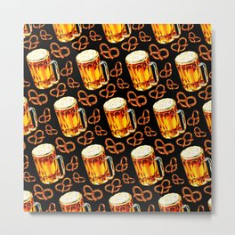Beer & Pretzel Pattern - Black Metal Print